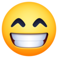 beaming face with smiling eyes emoji on facebook and messenger