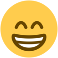 beaming face with smiling eyes emoji on twitter (twemoji)