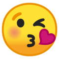 face blowing a kiss emoji on google android