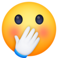 face with hand over mouth emoji on facebook messenger