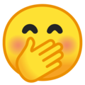 face with hand over mouth emoji on google android