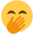 face with hand over mouth emoji on twitter (twemoji)