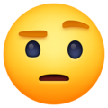 face with raised eyebrow emoji on facebook messenger