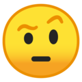 face with raised eyebrow emoji on google android