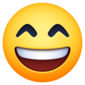 grinning face with smiling eyes emoji on facebook and messenger