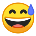 grinning face with sweat emoji on google android