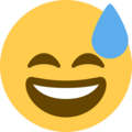 grinning face with sweat emoji on twitter (twemoji)