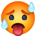 hot face emoji on facebook messenger