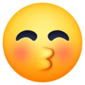 kissing face with closed eyes emoji on facebook messenger