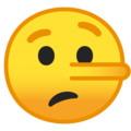 lying face emoji on google android