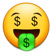 money-mouth face emoji on samsung