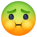 nauseated face emoji on facebook messenger