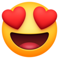 smiling face with heart-eyes emoji on facebook messenger