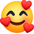 smiling face with hearts emoji on facebook messenger