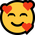 smiling face with hearts emoji on microsoft windows