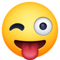 winking face with tongue emoji on facebook messenger