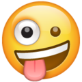 zany face emoji on whatsapp