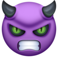 angry face with horns emoji on facebook messenger