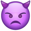 angry face with horns emoji on whatsapp