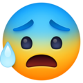 anxious face with sweat emoji on facebook messenger