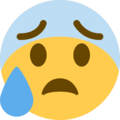 anxious face with sweat emoji on twitter (twemoji)