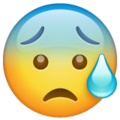 anxious face with sweat emoji on whatsapp