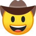 cowboy hat face emoji on google android