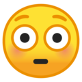 flushed face emoji on google android