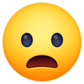 frowning face with open mouth emoji on facebook messenger