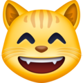 grinning cat with smiling eyes emoji on facebook messenger