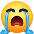 loudly crying face emoji on facebook messenger