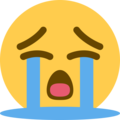loudly crying face emoji on twitter (twemoji)