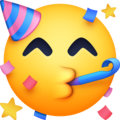 partying face emoji on facebook messenger