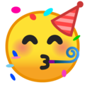 partying face emoji on google android