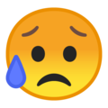sad but relieved face emoji on google android