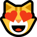 smiling cat with heart-eyes emoji on microsoft windows