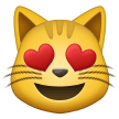 smiling cat with heart-eyes emoji on samsung