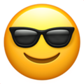 smiling face with sunglasses emoji on apple iphone iOS