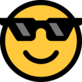 smiling face with sunglasses emoji on microsoft windows
