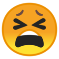 tired face emoji on google android